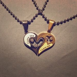 """I Love You"" Matching Heart Necklaces"